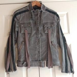 Bebe Embellished Gray Moto Jacket Medium